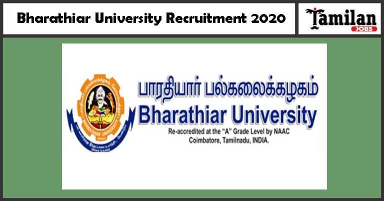 Bharathiar University Recruitment 2020 Out – Apply Online Jobs