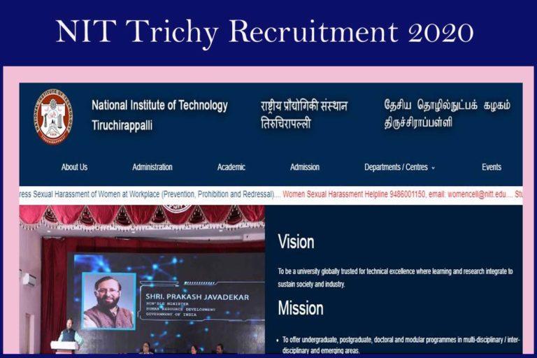 NIT Tiruchirappalli Recruitment 2020 Out – Apply For SRF Jobs