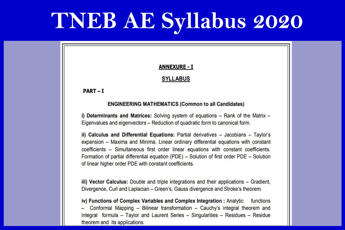 TNEB AE Syllabus 2020