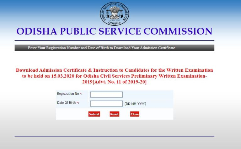 OPSC Civil Services Admit Card 2020 OUT | Download Preliminary Exam Date