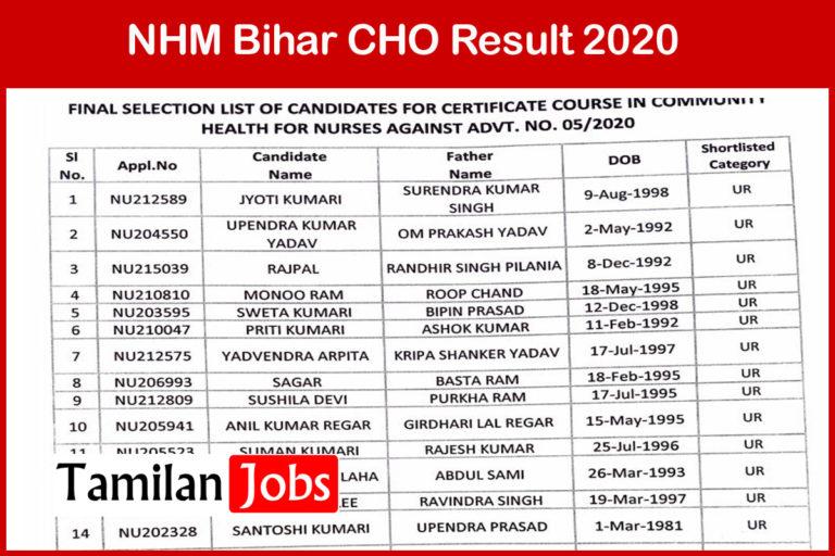 NHM Bihar CHO Result 2020 (Out)   Download Cut Off, Merit List