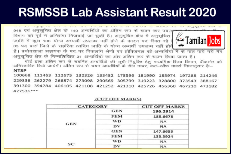 RSMSSB Lab Assistant Result 2020 (Out) | Check Cut Off Marks, Merit List