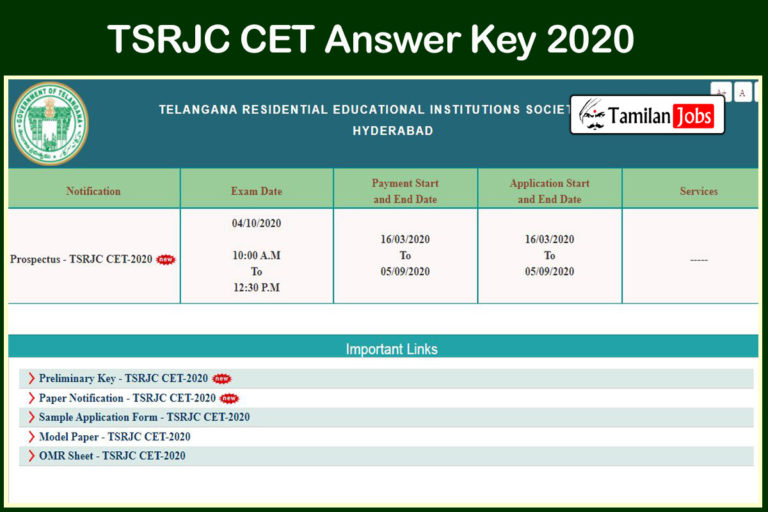 TSRJC CET Answer Key 2020 PDF (OUT) | Download @ tsrjdc.cgg.gov.in