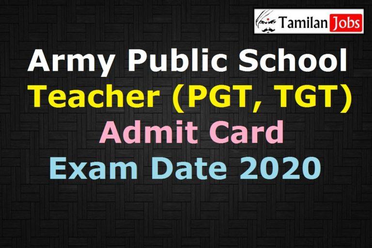 Army Public School Teacher Admit Card 2020 (OUT), AWES PGT, TGT, PRT Exam Date @ awesindia.com