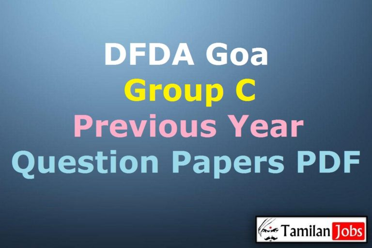DFDA Goa Group C Previous Year Question Papers PDF, FSO, LDC, Assistant Chemist, MTS Old Papers