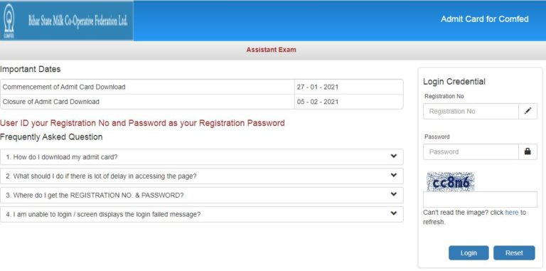 Bihar COMFED Admit Card 2021 (OUT), Accounts Assistant Exam Date