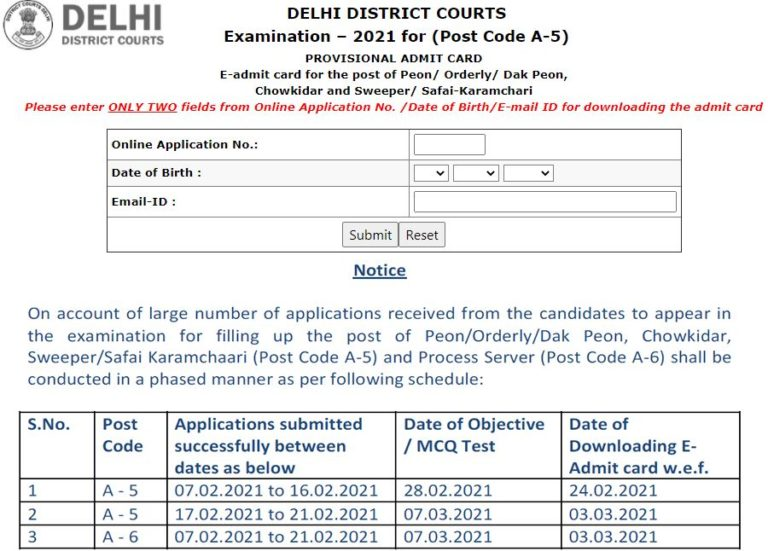 Delhi District Court Group C Admit Card 2021 (Out), Exam Date @ delhidistrictcourts.nic.in
