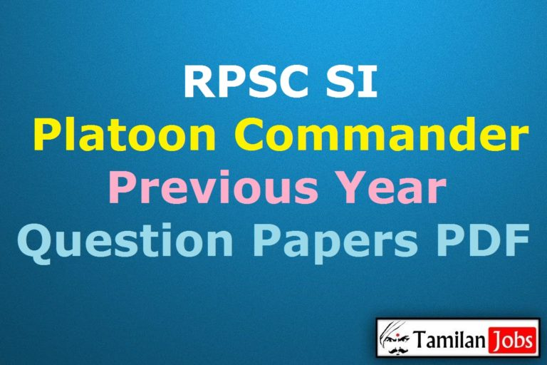 RPSC SI Previous Year Question Papers PDF, Platoon Commander Old Papers