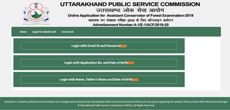 UKPSC ACF Admit Card 2021 (Released) @ ukpsc.gov.in, Assistant Conservator of Forest Mains Exam Date