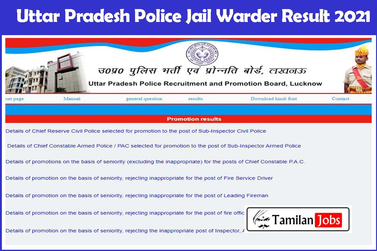 Uttar Pradesh Police Jail Warder Result 2021