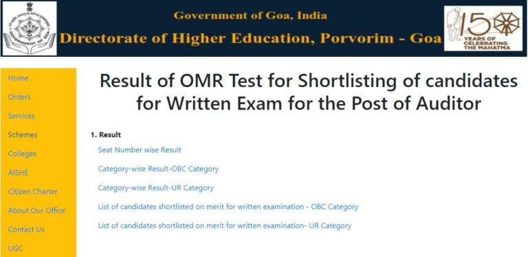 DHE Goa Result 2021 (Out) @ dhe.goa.gov.in, Auditor Cut Off Marks, Merit List