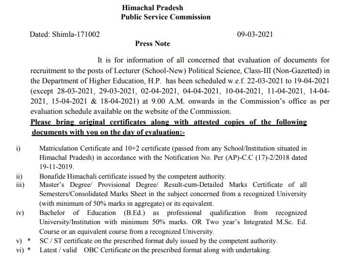 HPPSC Document Evaluation Schedule 2021 (Out), Lecturer (School-New) Political Science DV Date @ hppsc.hp.gov.in