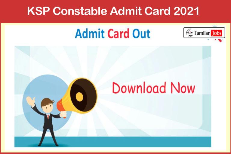 KSP Special Reserve Police Constable Admit Card 2021 (Released) @ ksp.gov.in | Exam Date: