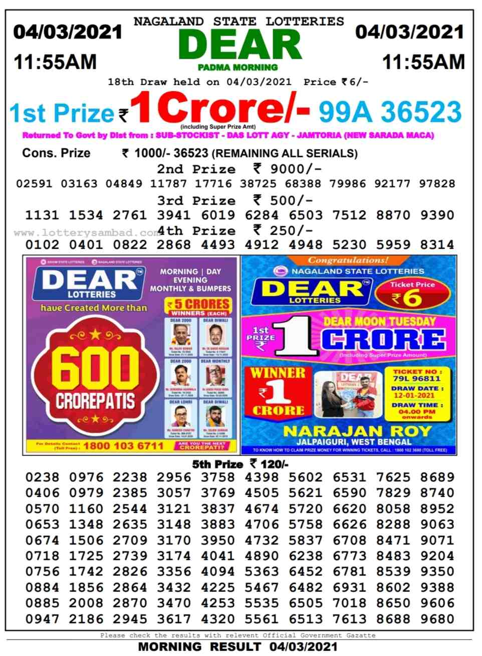 Lottery sambad 11.55 AM Result on 4.3.2021