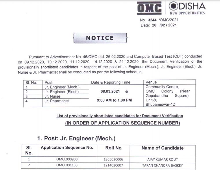 OMC Non Executive Result 2021 (Out) | Junior Executive Assistant Merit List @ omcltd.in