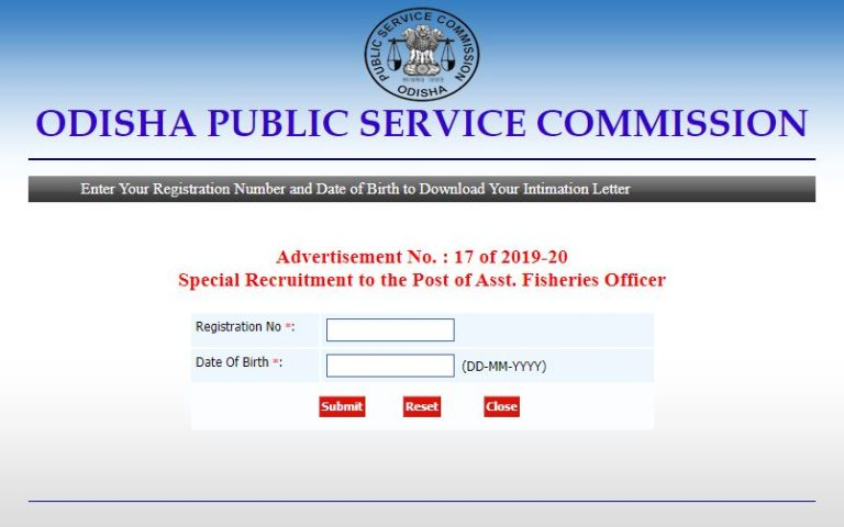 OPSC AFO DV Admit Card 2021 (Out) @ opsc.gov.in, Assistant Fisheries Officer Exam Date