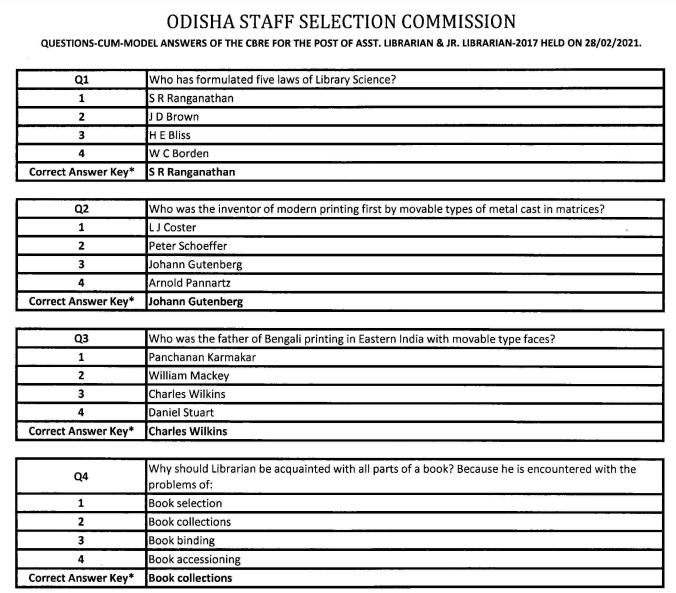 OSSC Model Answer Key 2021 (Out) @ ossc.gov.in, Assistant/Junior Librarian Exam Key