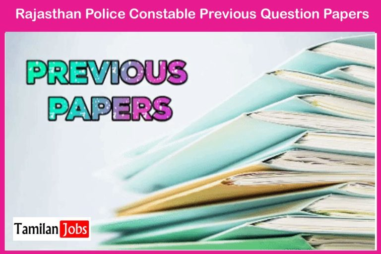 Rajasthan Police Constable Previous Question Papers @police.rajasthan.gov.in