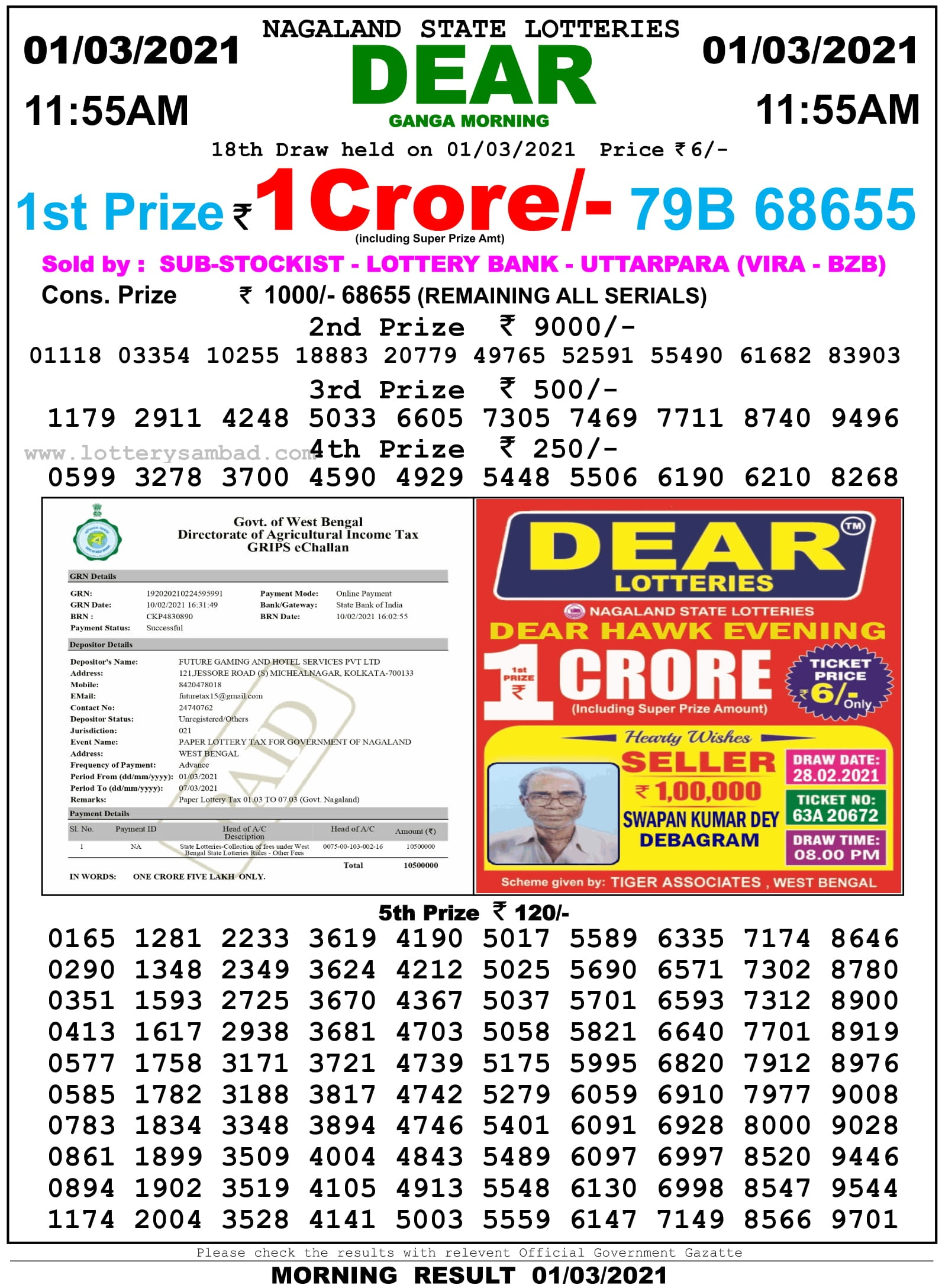 Sikkim State Lottery Result 11.55 AM 1.3.2021