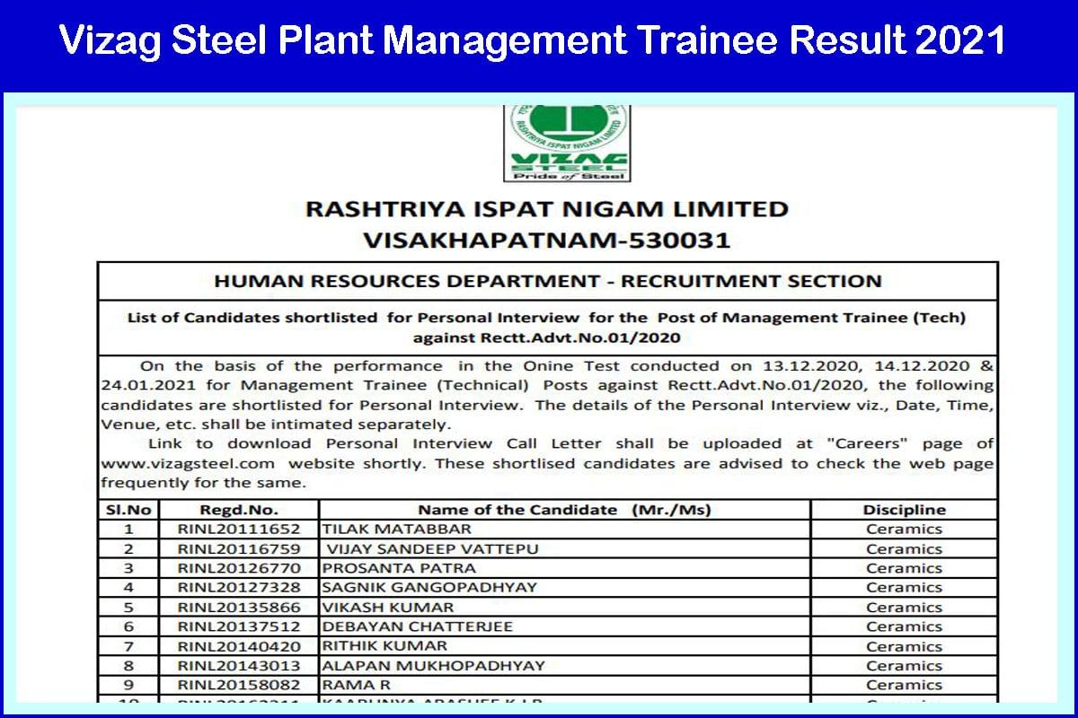 Vizag Steel Plant Management Trainee Result 2021