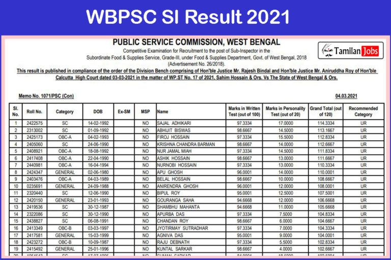 WBPSC SI Result 2021 (Released) @ wbpsc.gov.in | Check Details Here