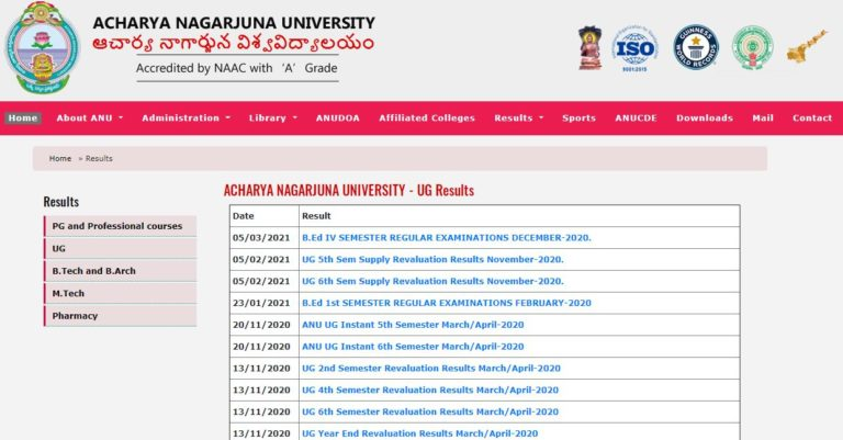 ANU Degree Revaluation Results 2021 (Out), UG, PG Semester Results @ nagarjunauniversity.ac.in