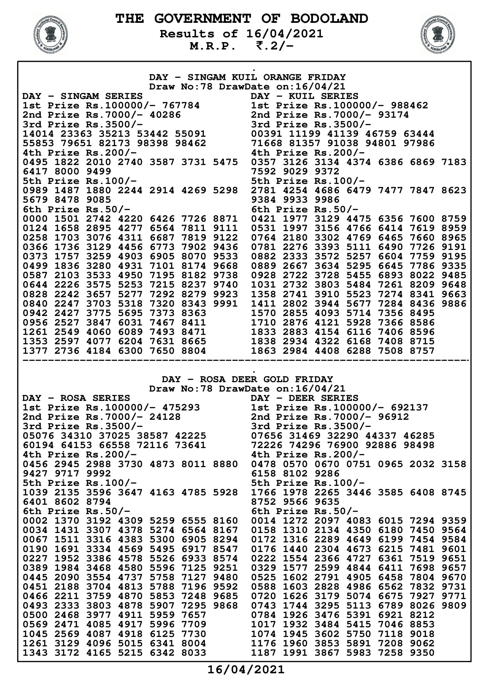 Bodoland lottery Result 16 4 2021 Live Today