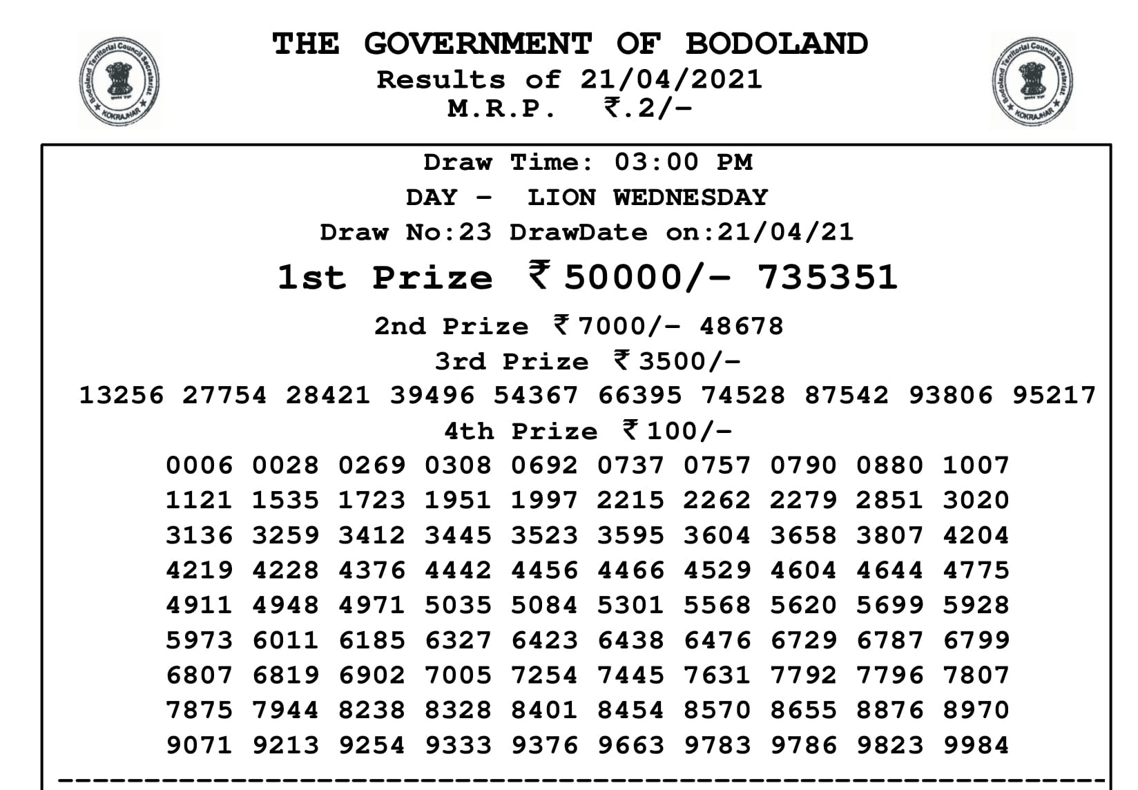 Bodoland lottery Result 21 4 2021 Live Today