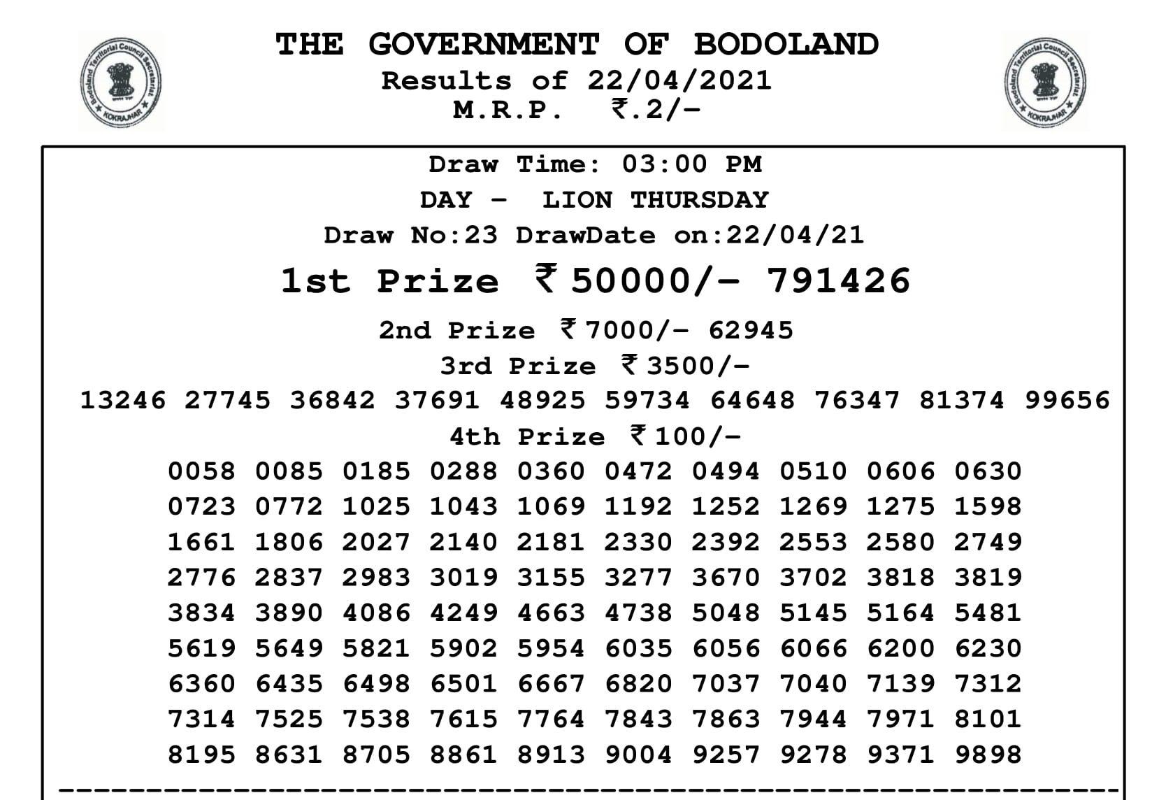 Bodoland lottery Result 22 4 2021