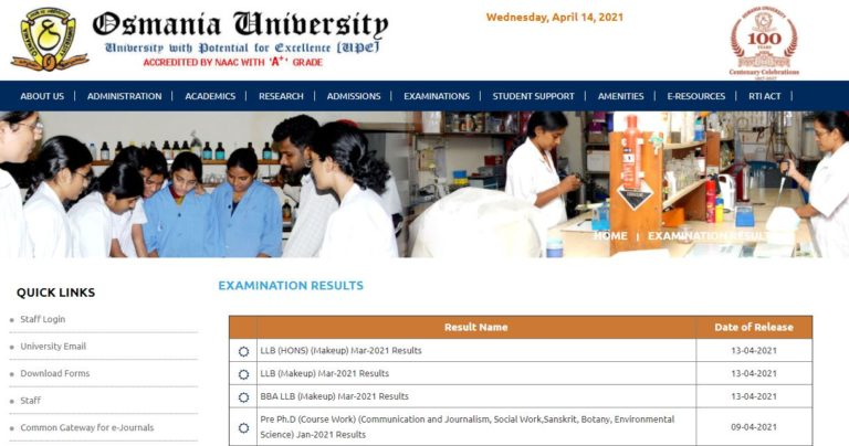 OU Degree Results 2021 (Out), Osmania University UG, PG Courses Result
