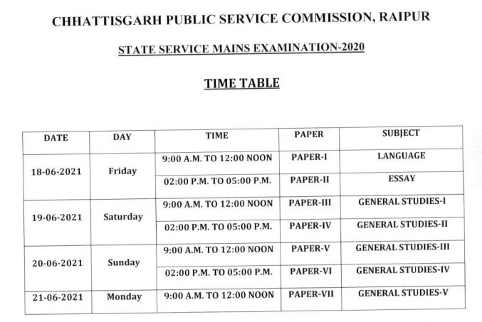CGPSC State Service Exam Date 2021
